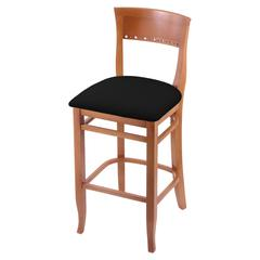 "3160 25"" Stool with Medium Finish, Black Vinyl Seat"