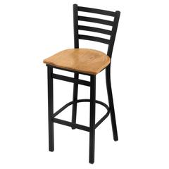 "400 Jackie 25"" Stool with Black Wrinkle Finish, Medium Oak Seat"