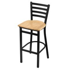 "400 Jackie 25"" Stool with Black Wrinkle Finish, Natural Oak Seat"