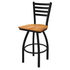 "410 Jackie 25"" Counter Stool with Black Wrinkle Finish, Medium Maple Seat, and 360 swivel"