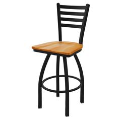 "Holland Bar Stool Co. 410 Jackie 30"" Bar Stool with Black Wrinkle Finish, Medium Oak Seat, and 360 swivel"