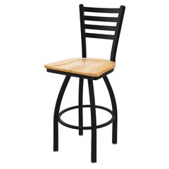 "Holland Bar Stool Co. 410 Jackie 25"" Counter Stool with Black Wrinkle Finish, Natural Oak Seat, and 360 swivel"