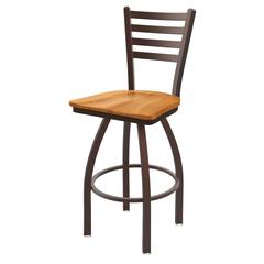 "410 Jackie 25"" Counter Stool with Bronze Finish, Medium Maple Seat, and 360 swivel"