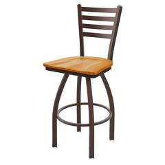 "410 Jackie 36"" Bar Stool with Bronze Finish, Medium Oak Seat, and 360 swivel"
