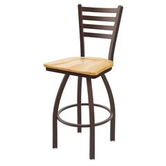 "410 Jackie 30"" Bar Stool with Bronze Finish, Natural Oak Seat, and 360 swivel"