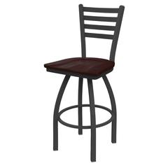 "410 Jackie 36"" Bar Stool with Pewter Finish, Dark Cherry Maple Seat, and 360 swivel"