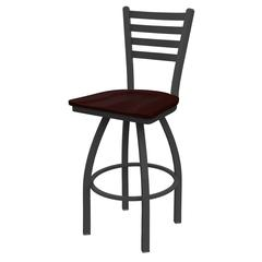 "410 Jackie 30"" Bar Stool with Pewter Finish, Dark Cherry Oak Seat, and 360 swivel"