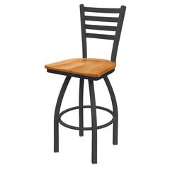 "410 Jackie 30"" Bar Stool with Pewter Finish, Medium Maple Seat, and 360 swivel"