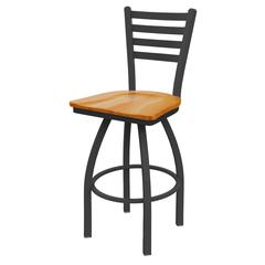 "Holland Bar Stool Co. 410 Jackie 36"" Bar Stool with Pewter Finish, Medium Oak Seat, and 360 swivel"