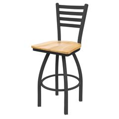 "410 Jackie 25"" Counter Stool with Pewter Finish, Natural Maple Seat, and 360 swivel"