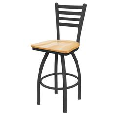 "410 Jackie 36"" Bar Stool with Pewter Finish, Natural Oak Seat, and 360 swivel"