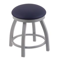 "802 Misha 18"" Vanity Stool with Anodized Nickel Finish, Allante Dark Blue Seat, and 360 Swivel"