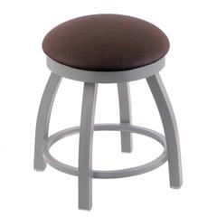 "802 Misha 18"" Vanity Stool with Anodized Nickel Finish, Rein Coffee Seat, and 360 Swivel"