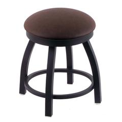 "802 Misha 18"" Vanity Stool with Black Wrinkle Finish, Rein Coffee Seat, and 360 Swivel"