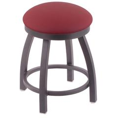 "802 Misha 18"" Vanity Stool with Pewter Finish, Allante Wine Seat, and 360 Swivel"