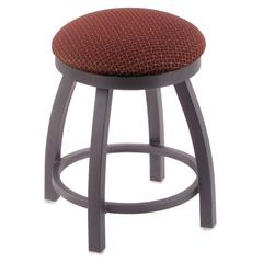 """802 Misha 18"""" Vanity Stool with Pewter Finish, Axis Paprika Seat, and 360 Swivel"""