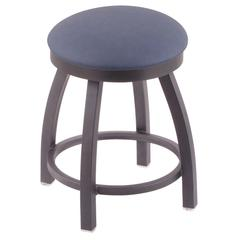 "802 Misha 18"" Vanity Stool with Pewter Finish, Rein Bay Seat, and 360 Swivel"