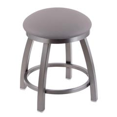 "Holland Bar Stool Co. 802 Misha 18"" Vanity Stool with Stainless Finish, Allante Medium Grey Seat, and 360 Swivel"