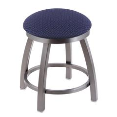 "802 Misha 18"" Vanity Stool with Stainless Finish, Axis Denim Seat, and 360 Swivel"