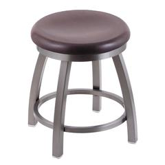 "Holland Bar Stool Co. 802 Misha 18"" Vanity Stool with Stainless Finish, Dark Cherry Oak Seat, and 360 Swivel"
