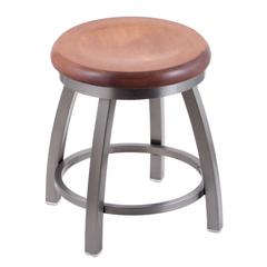 "802 Misha 18"" Vanity Stool with Stainless Finish, Medium Maple Seat, and 360 Swivel"