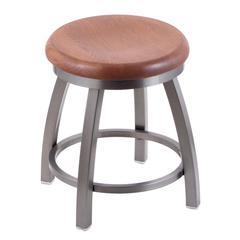 """802 Misha 18"""" Vanity Stool with Stainless Finish, Medium Oak Seat, and 360 Swivel"""