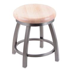 "802 Misha 18"" Vanity Stool with Stainless Finish, Natural Maple Seat, and 360 Swivel"