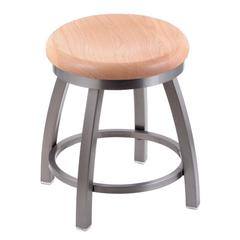 "802 Misha 18"" Vanity Stool with Stainless Finish, Natural Oak Seat, and 360 Swivel"