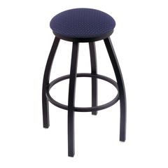 "802 Misha 30"" Bar Stool with Black Wrinkle Finish, Axis Denim Seat, and 360 swivel"