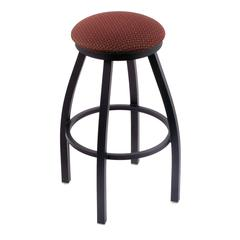 "802 Misha 30"" Bar Stool with Black Wrinkle Finish, Axis Paprika Seat, and 360 swivel"