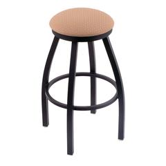 "Holland Bar Stool Co. 802 Misha 30"" Bar Stool with Black Wrinkle Finish, Axis Summer Seat, and 360 swivel"