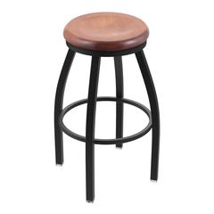 "Holland Bar Stool Co. 802 Misha 30"" Bar Stool with Black Wrinkle Finish, Medium Maple Seat, and 360 swivel"
