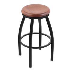 "802 Misha 30"" Bar Stool with Black Wrinkle Finish, Medium Oak Seat, and 360 swivel"
