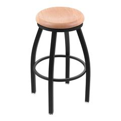 "802 Misha 25"" Counter Stool with Black Wrinkle Finish, Natural Oak Seat, and 360 swivel"