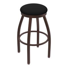 "802 Misha 30"" Bar Stool with Bronze Finish, Black Vinyl Seat, and 360 swivel"