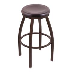 "802 Misha 36"" Bar Stool with Bronze Finish, Dark Cherry Maple Seat, and 360 swivel"