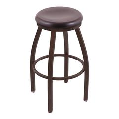 "Holland Bar Stool Co. 802 Misha 36"" Bar Stool with Bronze Finish, Dark Cherry Oak Seat, and 360 swivel"