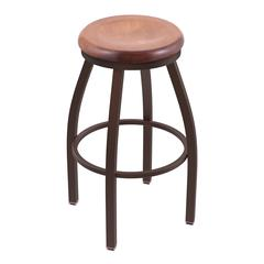 "802 Misha 36"" Bar Stool with Bronze Finish, Medium Maple Seat, and 360 swivel"