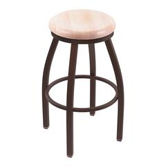 "802 Misha 30"" Bar Stool with Bronze Finish, Natural Maple Seat, and 360 swivel"