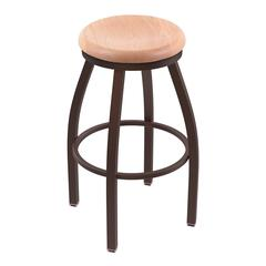 "802 Misha 36"" Bar Stool with Bronze Finish, Natural Oak Seat, and 360 swivel"