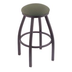 "802 Misha 30"" Bar Stool with Pewter Finish, Axis Grove Seat, and 360 swivel"