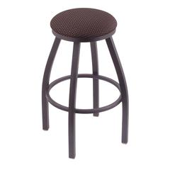 "802 Misha 30"" Bar Stool with Pewter Finish, Axis Truffle Seat, and 360 swivel"