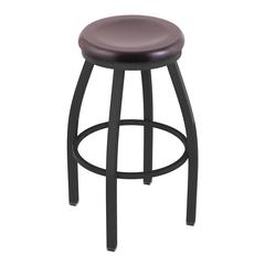 "802 Misha 36"" Bar Stool with Pewter Finish, Dark Cherry Maple Seat, and 360 swivel"