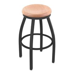 "802 Misha 30"" Bar Stool with Pewter Finish, Natural Oak Seat, and 360 swivel"