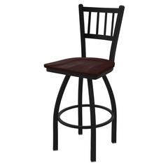 "810 Contessa 30"" Bar Stool with Black Wrinkle Finish, Dark Cherry Maple Seat, and 360 swivel"
