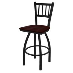 "810 Contessa 30"" Bar Stool with Black Wrinkle Finish, Dark Cherry Oak Seat, and 360 swivel"