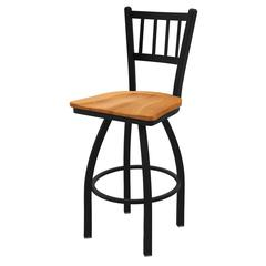 "810 Contessa 36"" Bar Stool with Black Wrinkle Finish, Medium Maple Seat, and 360 swivel"
