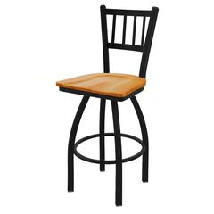 "Holland Bar Stool Co. 810 Contessa 25"" Counter Stool with Black Wrinkle Finish, Medium Oak Seat, and 360 swivel"