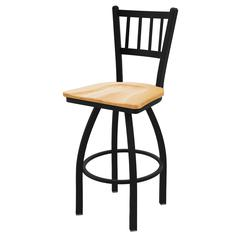 "Holland Bar Stool Co. 810 Contessa 36"" Bar Stool with Black Wrinkle Finish, Natural Oak Seat, and 360 swivel"