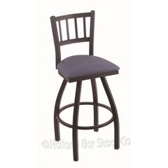 "810 Contessa 36"" Bar Stool with Black Wrinkle Finish, Rein Bay Seat, and 360 swivel"